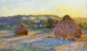 Impressionism painting reproductions: Grainstacks At The End Of Summer  Evening Effect