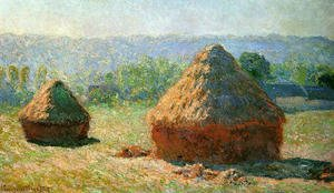 Famous paintings of Summer: Grainstacks At The End Of Summer  Morning Effect