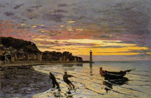 Impressionism painting reproductions: Hauling A Boat Ashore  Honfleur