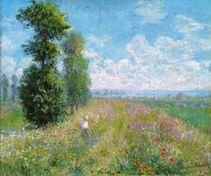 Impressionism painting reproductions: Meadow With Poplars Aka Poplars Near Argenteuil