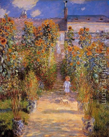 Monets Garden At Vetheuil by Claude Oscar Monet - Reproduction Oil Painting