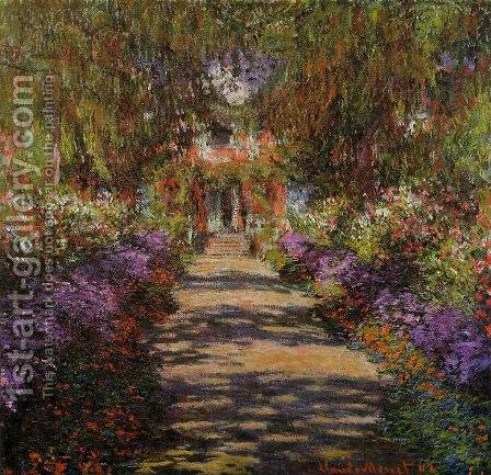 Claude Oscar Monet: Pathway In Monets Garden At Giverny - reproduction oil painting