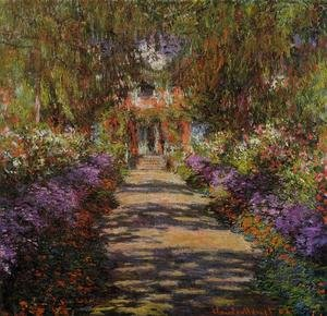 Famous paintings of Trees: Pathway In Monets Garden At Giverny