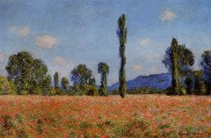 Famous paintings of Trees: Poppy Field  Giverny