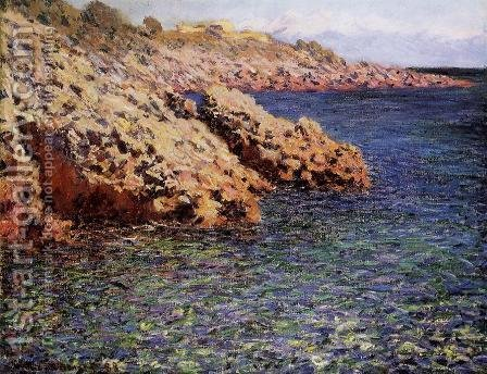 Rocks On The Mediterranean Coast Aka Cam D Antibes by Claude Oscar Monet - Reproduction Oil Painting