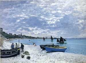 Impressionism painting reproductions: The Beach At Sainte Adresse