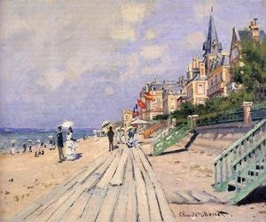 Famous paintings of Ships & Boats: The Boardwalk At Trouville