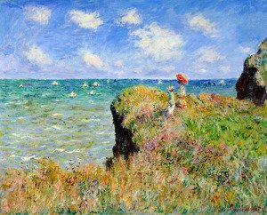 Famous paintings of Mountains and Cliffs: The Cliff Walk  Pourville
