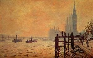 Famous paintings of Ships & Boats: The Thames Below Westminster