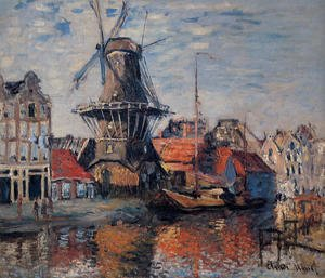 Impressionism painting reproductions: The Windmill On The Onbekende Canal  Amsterdam