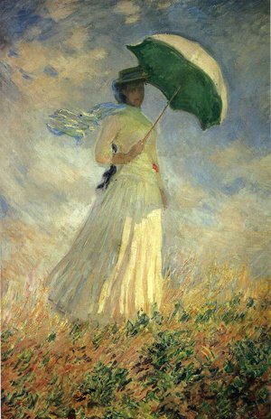 Famous paintings of Landscapes: Woman With A Parasol  Facing Right Aka Study Of A Figure Outdoors (Facing Right)