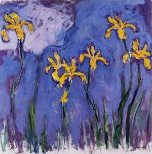 Impressionism painting reproductions: Yellow Irises With Pink Cloud
