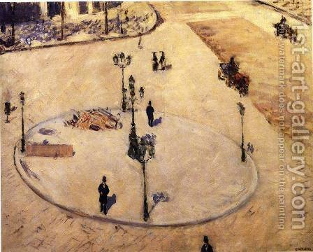 A Traffic Island  Boulevard Haussmann by Gustave Caillebotte - Reproduction Oil Painting