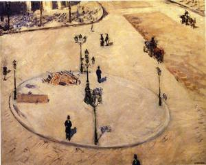 Reproduction oil paintings - Gustave Caillebotte - A Traffic Island  Boulevard Haussmann