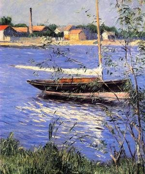 Reproduction oil paintings - Gustave Caillebotte - Anchored Boat On The Seine At Argenteuil