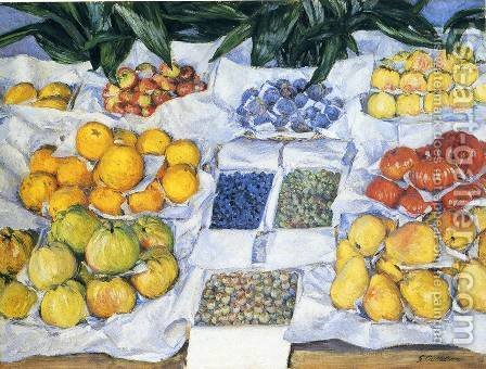 Fruit Displayed on a Stand 1881-82 by Gustave Caillebotte - Reproduction Oil Painting