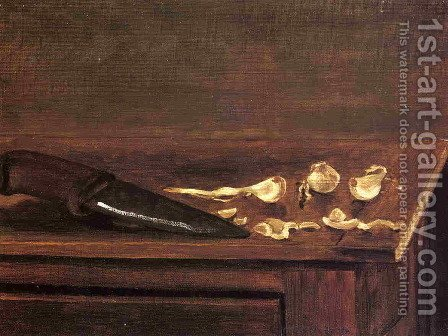 Garlic Cloves And Knife On The Corner Of A Table by Gustave Caillebotte - Reproduction Oil Painting