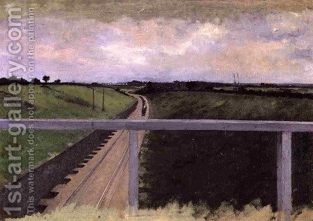 Gustave Caillebotte: Landscape With Railway Tracks - reproduction oil painting