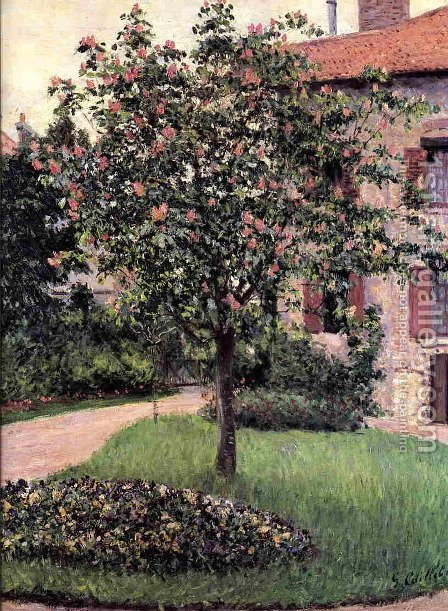Petit Gennevilliers  Facade  Southeast Of The Artists Studio  Overlooking The Garden  Spring by Gustave Caillebotte - Reproduction Oil Painting