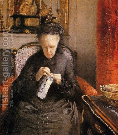 Portrait Of Madame Martial Caillebote (the Artists Mother) by Gustave Caillebotte - Reproduction Oil Painting
