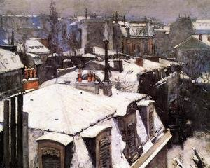 Reproduction oil paintings - Gustave Caillebotte - Rooftops Under Snow