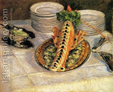 Still Life With Crayfish by Gustave Caillebotte - Reproduction Oil Painting
