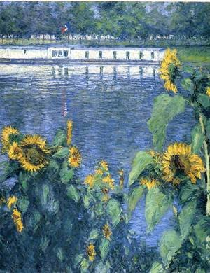 Reproduction oil paintings - Gustave Caillebotte - Sunflowers On The Banks Of The Seine