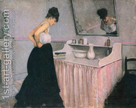 Woman At A Dressing Table by Gustave Caillebotte - Reproduction Oil Painting