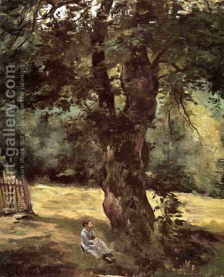 Woman Seated Under A Tree by Gustave Caillebotte - Reproduction Oil Painting