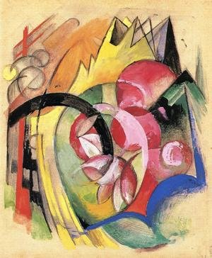 Expressionism painting reproductions: Coloful Flowers Aka Abstract Forms