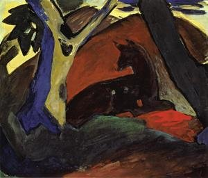 Expressionism painting reproductions: Crouching Deer