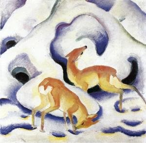 Expressionism painting reproductions: Deer In The Snow