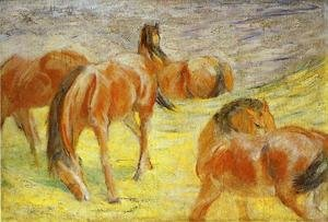Expressionism painting reproductions: Grazing Horses