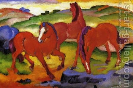 Franz Marc: Grazing Horses IV Aka The Red Horses - reproduction oil painting