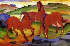 Famous paintings of Horses & Horse Riding: Grazing Horses IV Aka The Red Horses