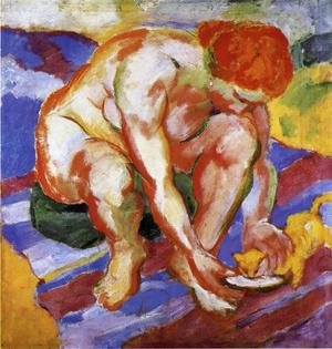 Reproduction oil paintings - Franz Marc - Nude With Cat