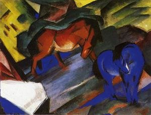 Expressionism painting reproductions: Red And Blue Horse
