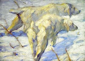 Expressionism painting reproductions: Siberian Sheepdogs Aka Siberian Dogs In The Snow