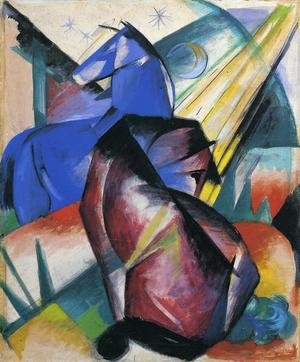 Expressionism painting reproductions: Two Horses  Red And Blue