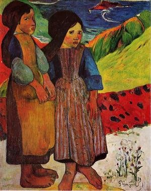 Reproduction oil paintings - Paul Gauguin - Breton Girls By The Sea
