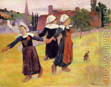 Paul Gauguin: Breton Girls Dancing Aka Dancing A Round In The Haystacks - reproduction oil painting
