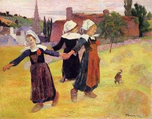 Famous paintings of Villages: Breton Girls Dancing Aka Dancing A Round In The Haystacks
