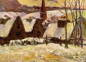 Reproduction oil paintings - Paul Gauguin - Breton Village In The Snow
