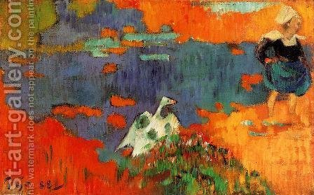 Paul Gauguin: Breton Woman And Goose By The Water - reproduction oil painting