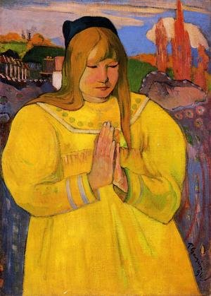 Reproduction oil paintings - Paul Gauguin - Breton Woman In Prayer