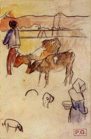 Reproduction oil paintings - Paul Gauguin - Bretons And Cows (sketch)