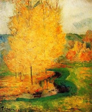 Famous paintings of Trees: By The Stream  Autumn