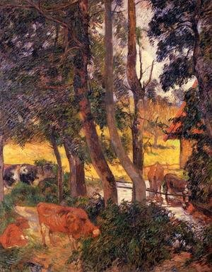 Reproduction oil paintings - Paul Gauguin - Cattle Drinking Aka Edge Of The Pond