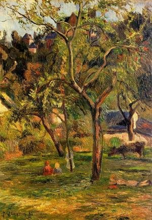 Reproduction oil paintings - Paul Gauguin - Children In The Pasture Aka Orchard Below Bihorel Church