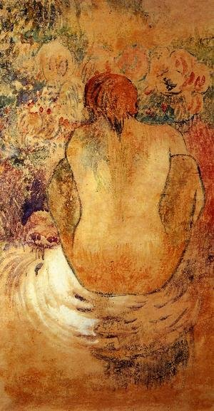 Reproduction oil paintings - Paul Gauguin - Crouching Marquesan Woman See From The Back